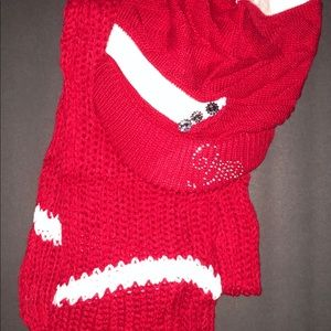 New Red Knitted Scarve Crochet Slouchy Beanie